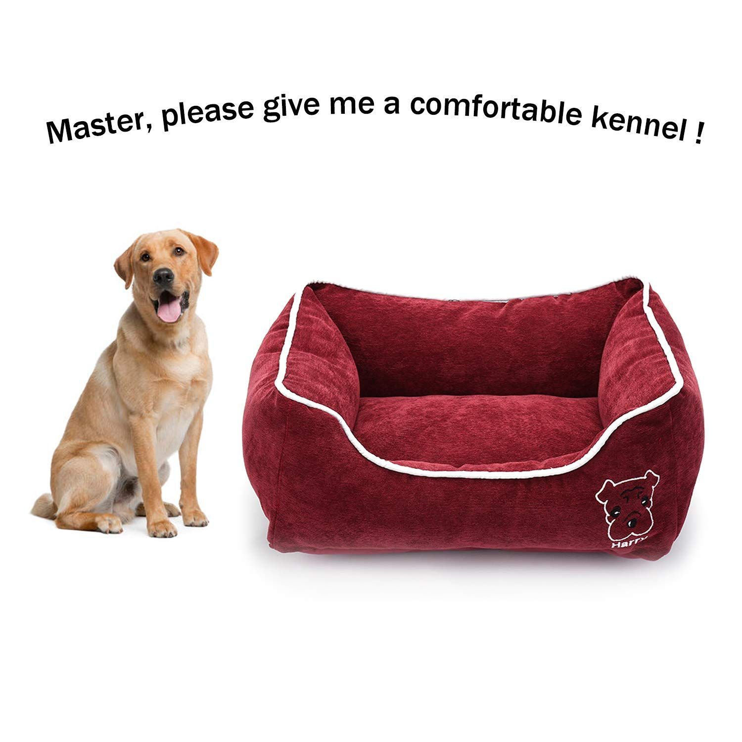 Simple Rectangular Pet Bed With Removable Cover Plush Comfy Durable Cuddler For Dogs And Cats Machine Washable Cover Med Dog Pet Beds Dog Bed Furniture Dog Cat Pet bed with removable cover