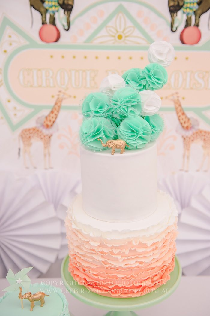 ADORABLE CAKE from this Vintage Peach and Mint Circus Party with