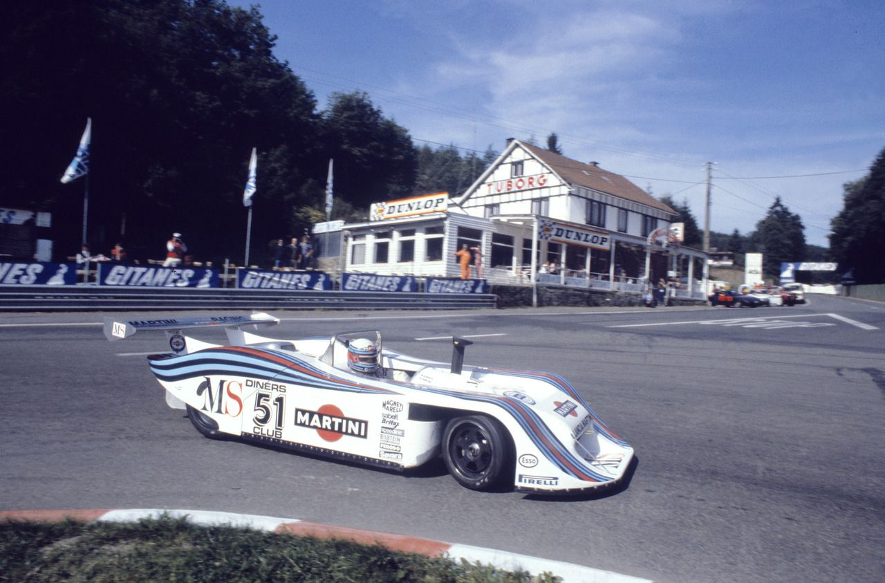 A Lancia LC1 Spider driven by Piercarlo Ghinzani and Michele Alboreto during the 1000km Spa in 1982. Mr. Ghinzani and Mr. Alboreto did not finish due to a problem with their fuel tank.