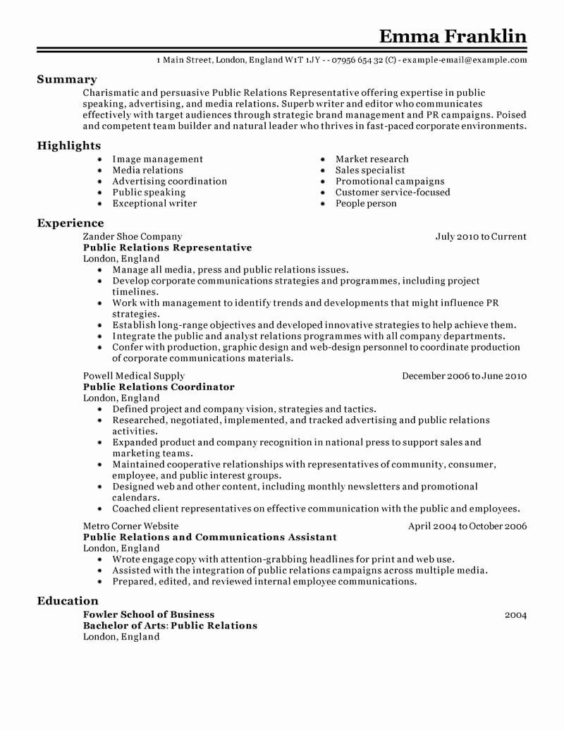 Public Relation Resume Examples Inspirational Best Public