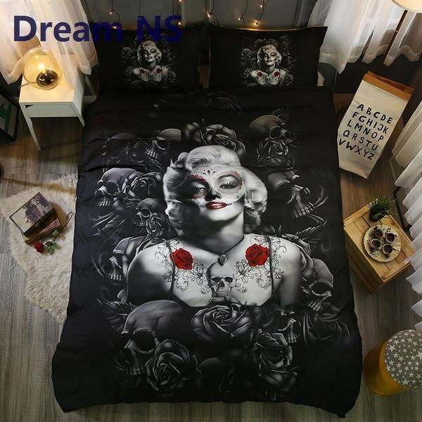 elegant rose marilyn monroe bedding set  skull bedding