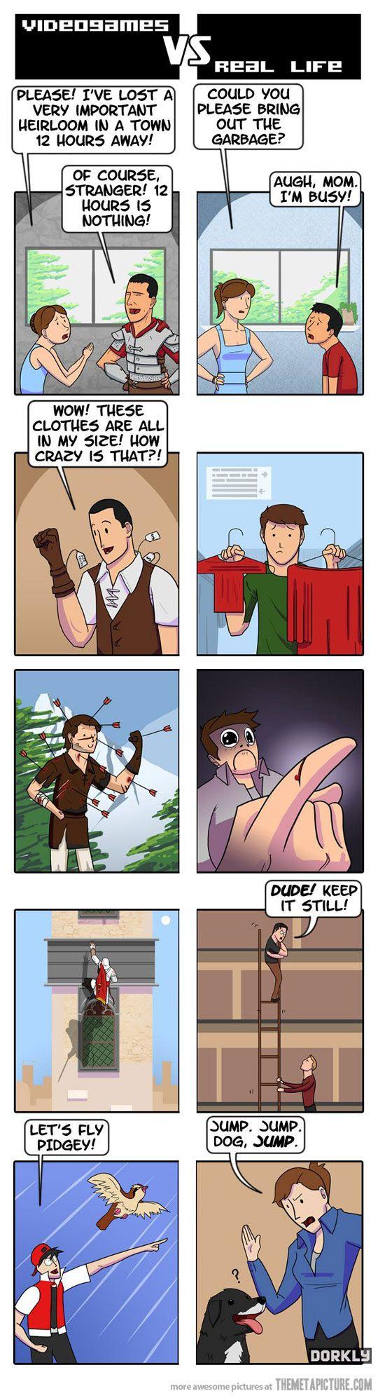 Videogames vs. Real Life