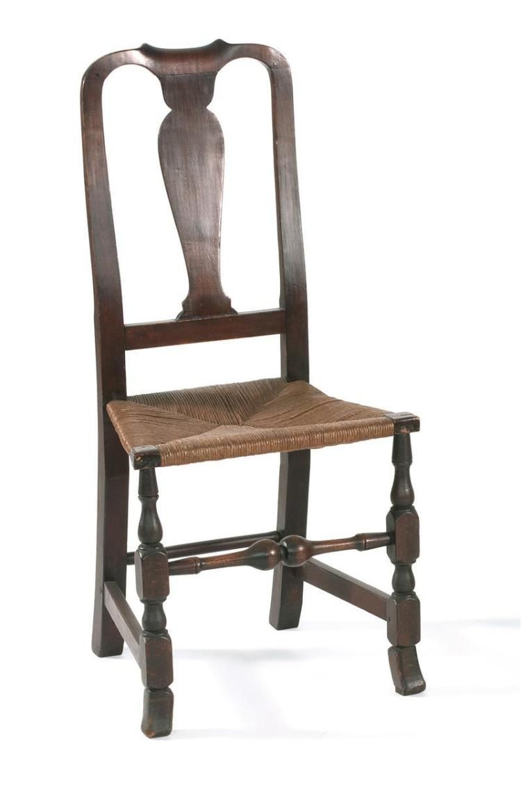 Antique American Queen Anne Rush Seat Chair Mid 18th Century In