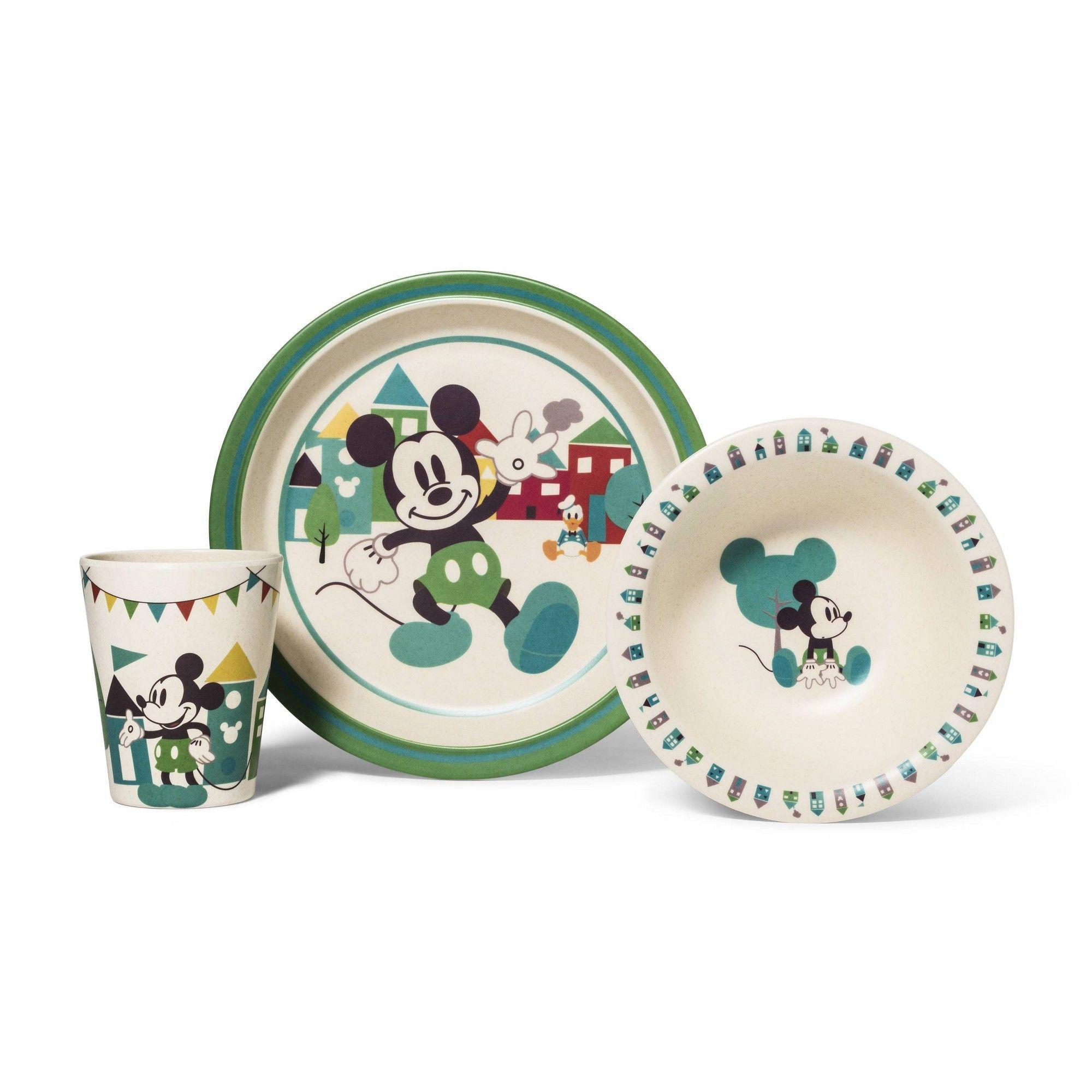 Disney Mickey Mouse 3pc Bamboo Dinner Set, Adult Unisex