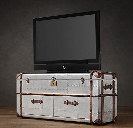 Restoration Hardware Streamer Trunk Style Tv Stands Tv Stand Restoration Hardware Television Stands