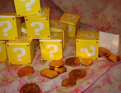 Mario birthday party : except instead of pennies, I'd do gold chocolate coins
