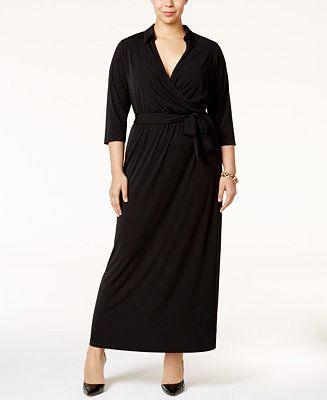 08d3749a2d NY Collection Plus Size Faux-Wrap Maxi Dress - Plus Size Sale   Clearance -  Plus Sizes - Macy s