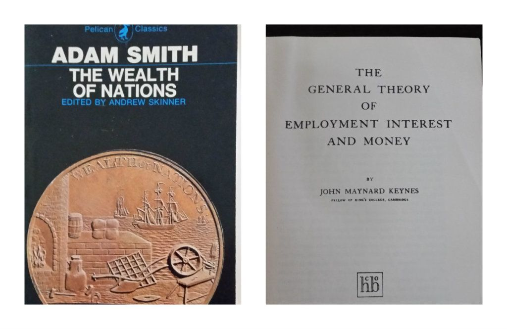 Collage With Two Images The First Is A Picture Of The Book Cover For Adam Smith S The Wealth Of Nations Macroeconomics The Wealth Of Nations Maynard Keynes