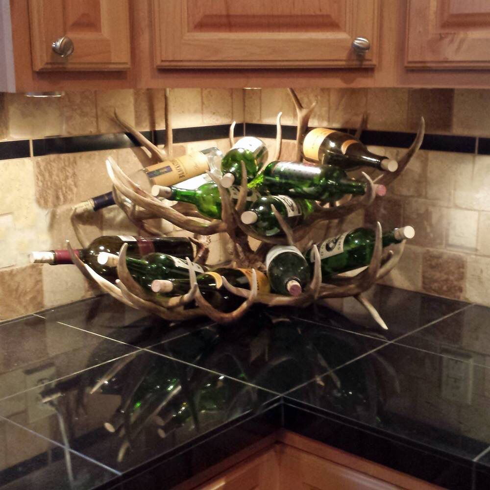 Mule deer antler wine rack home is wherever i 39 m with for Antler decorations for home