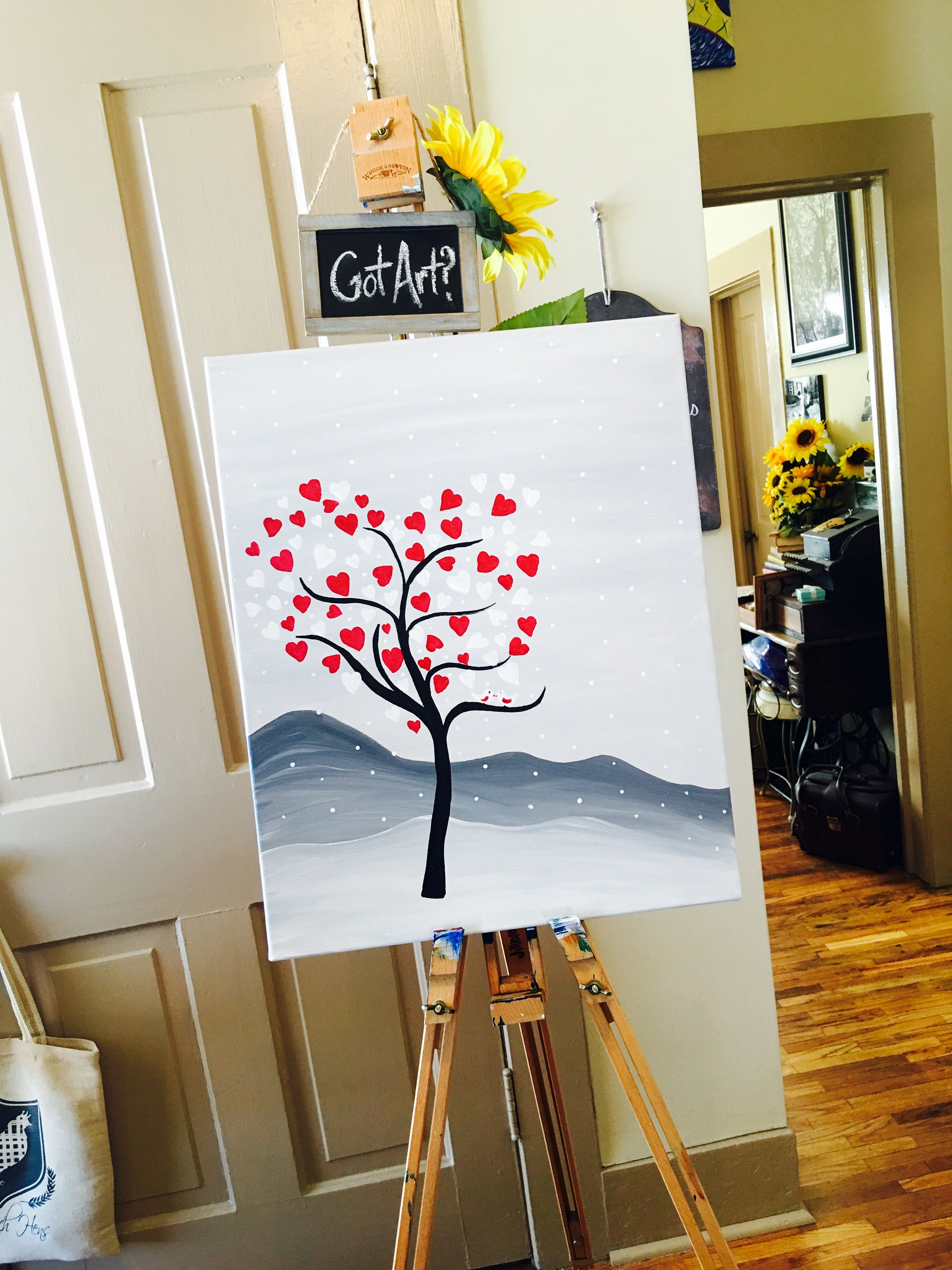 Valentine S Day Dreamin Paint Sip Party Sample Painting On Canvas Rose N Vine 630 448 2278 Diy Art Easy