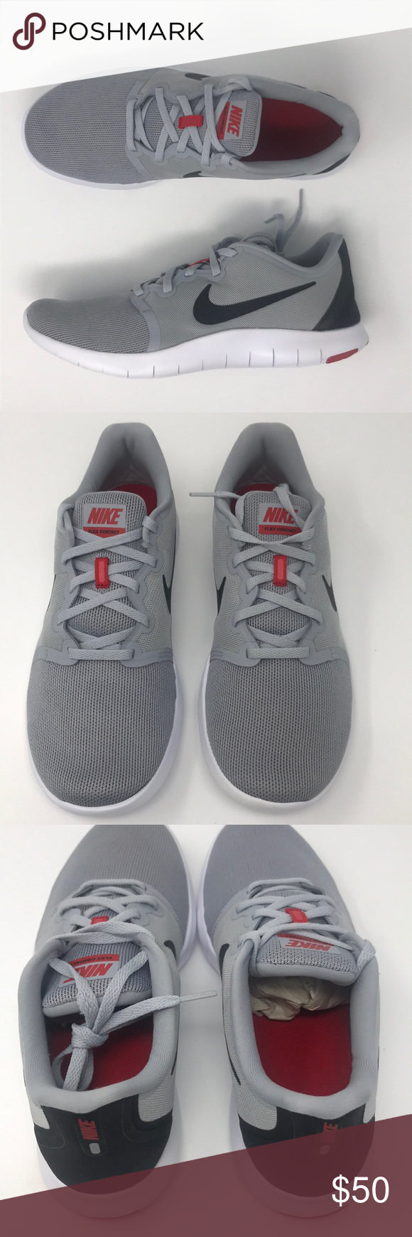 Nike flex contact 2 grey gray black red men s Brand new with box - lace has  a snag Nike Shoes Athletic Shoes 2b15417eb03