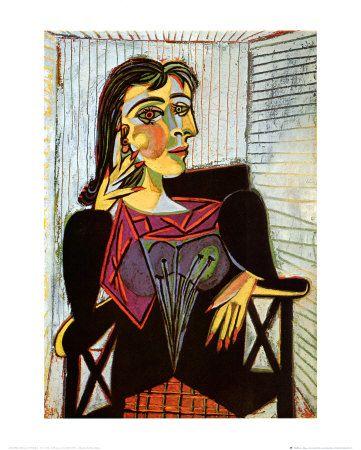 Portrait of Dora Maar, c.1937 by Pablo Picasso. Art print from Art.com.