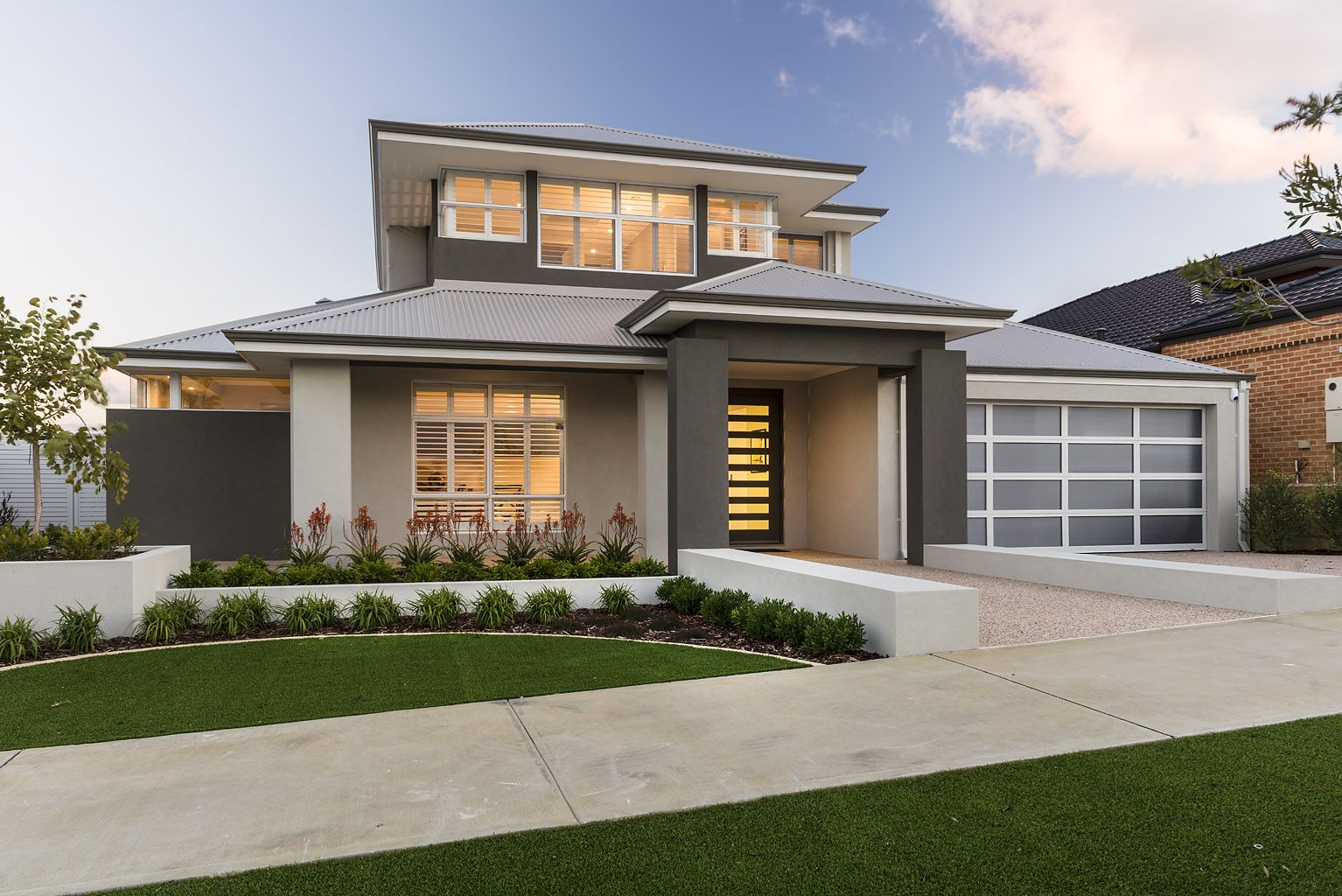 Modern Front Elevation Perth : The burlington ben trager homes perth display home