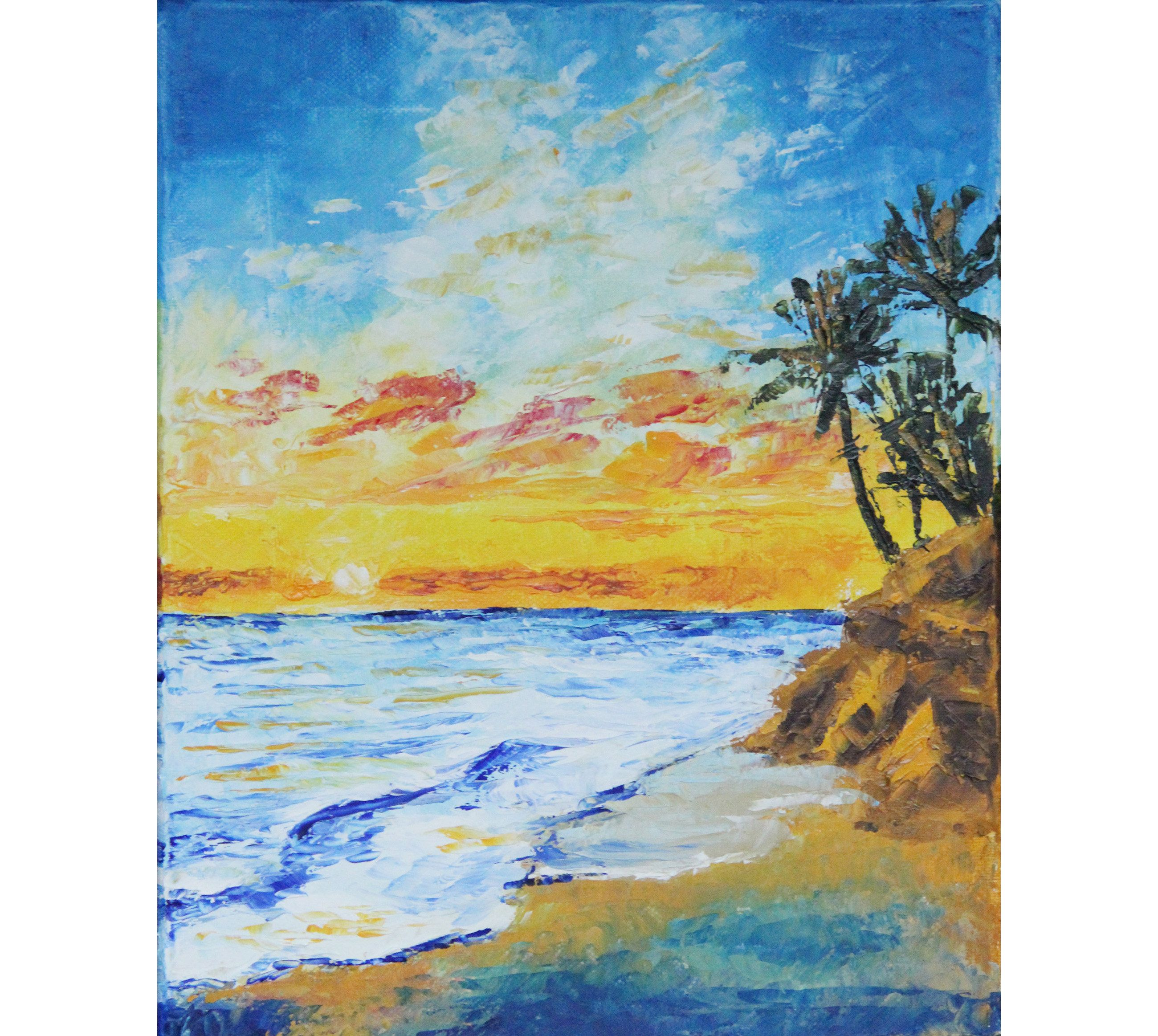 Seascape Beach   Painting   Coastal Landscape Wall Art   California Artwork Sea Original Art  12/'/'by12/'/'