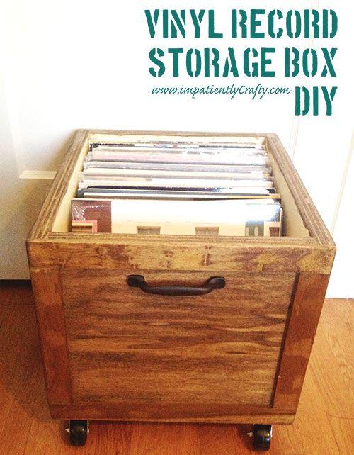 Diy Lp Record Storage Box On Wheels Vinyl Record Storage Box Record Storage Box Record Storage