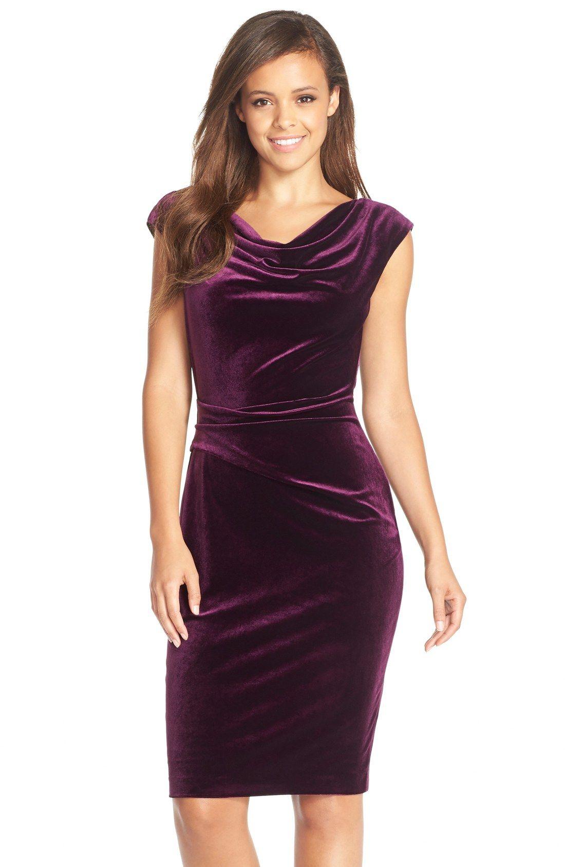 359b618ade Vince Camuto Cowl Neck Velvet Sheath Dress