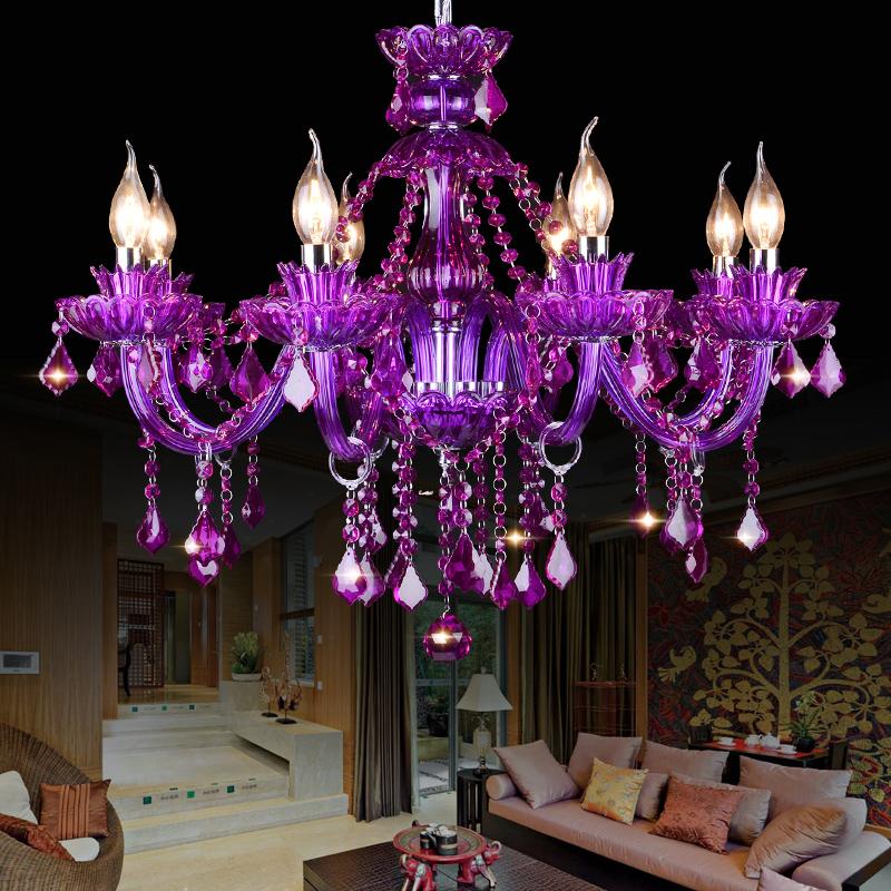 Elegant Purple Crystal Ceiling Light European Chandelier Bedroom Living Room Hq9024 Crystal Ceiling Light Purple Chandelier Chandelier Lighting