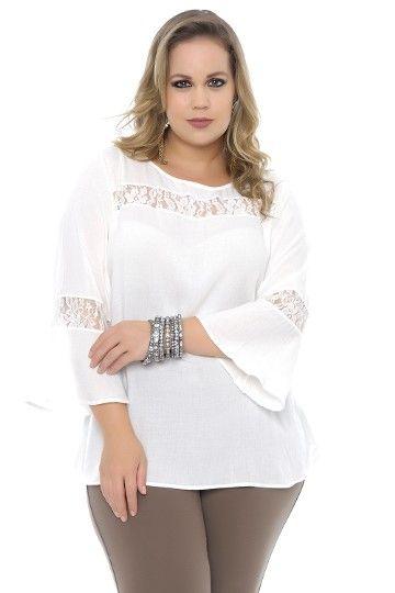 d58f0c344c06 Blusa plus size com renda manga sino - Chic e Elegante | BLUSAS em ...