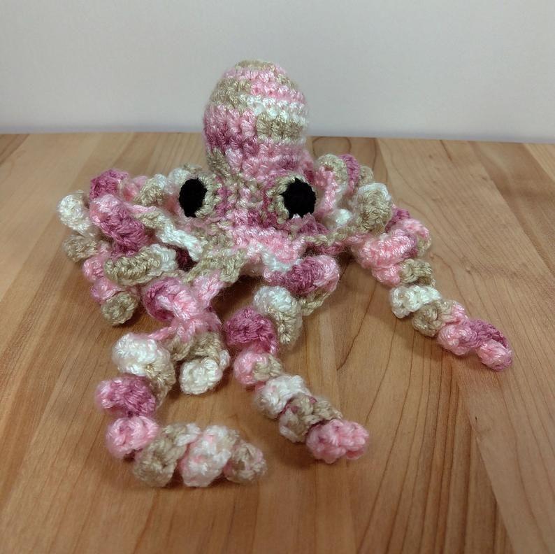Pink//white Handmade Crochet Octopus
