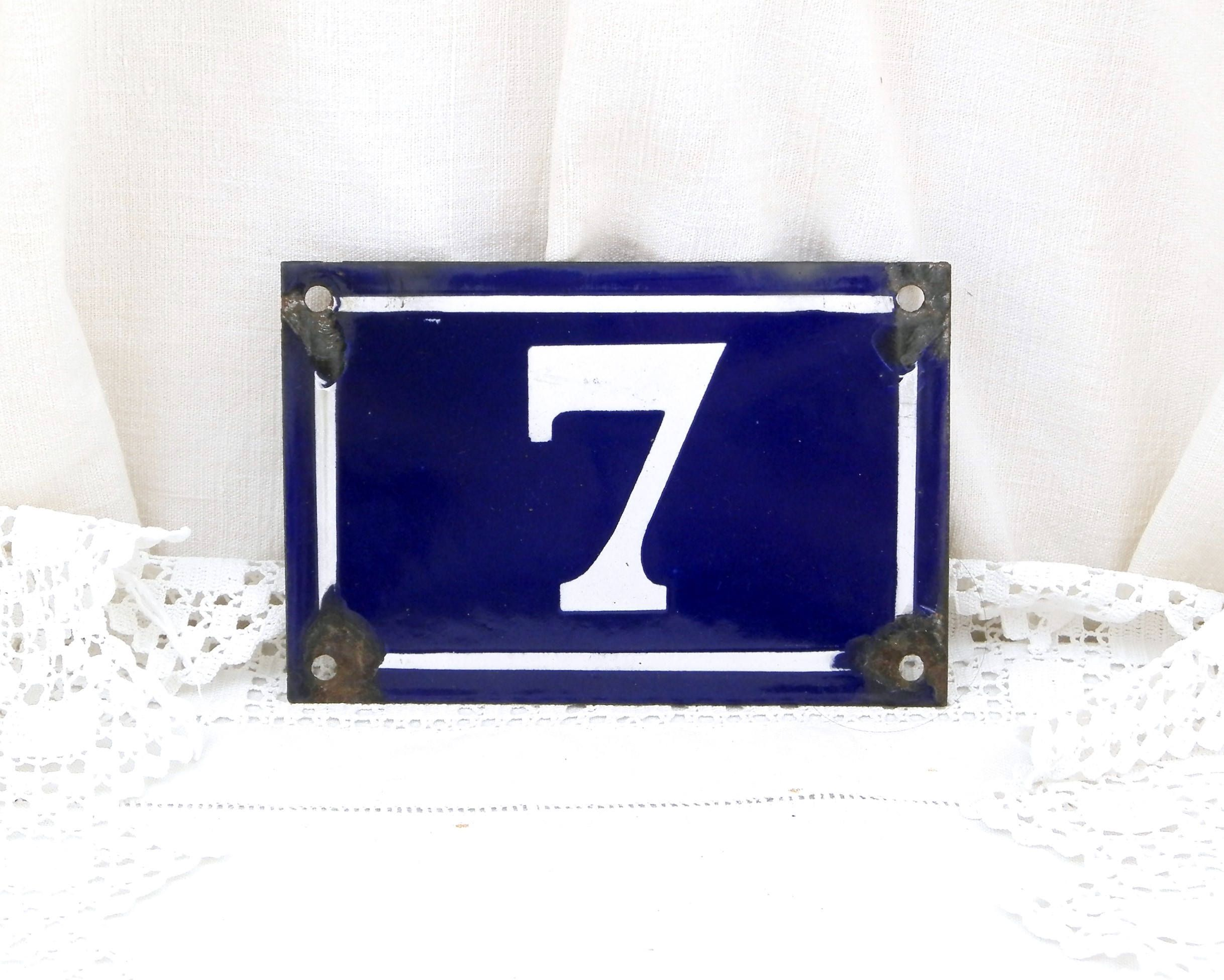Antique Porcelain House Number Blue And White Traditional French Enamel House Number Plate Number 7 Vintage Retro French Signs Street By Vintagedecorfranc