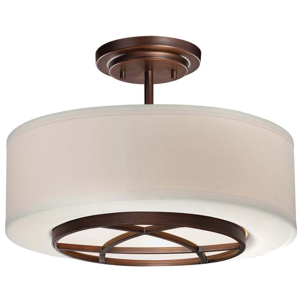 Hampton Bay 15 In 2 Light Oil Rubbed Bronze Semi Flush Mount With Tea Stained Glass Shade S351ju02 The Home Depot Semi Flush Mount Lighting Flush Mount Lighting Flush Mount Ceiling Lights