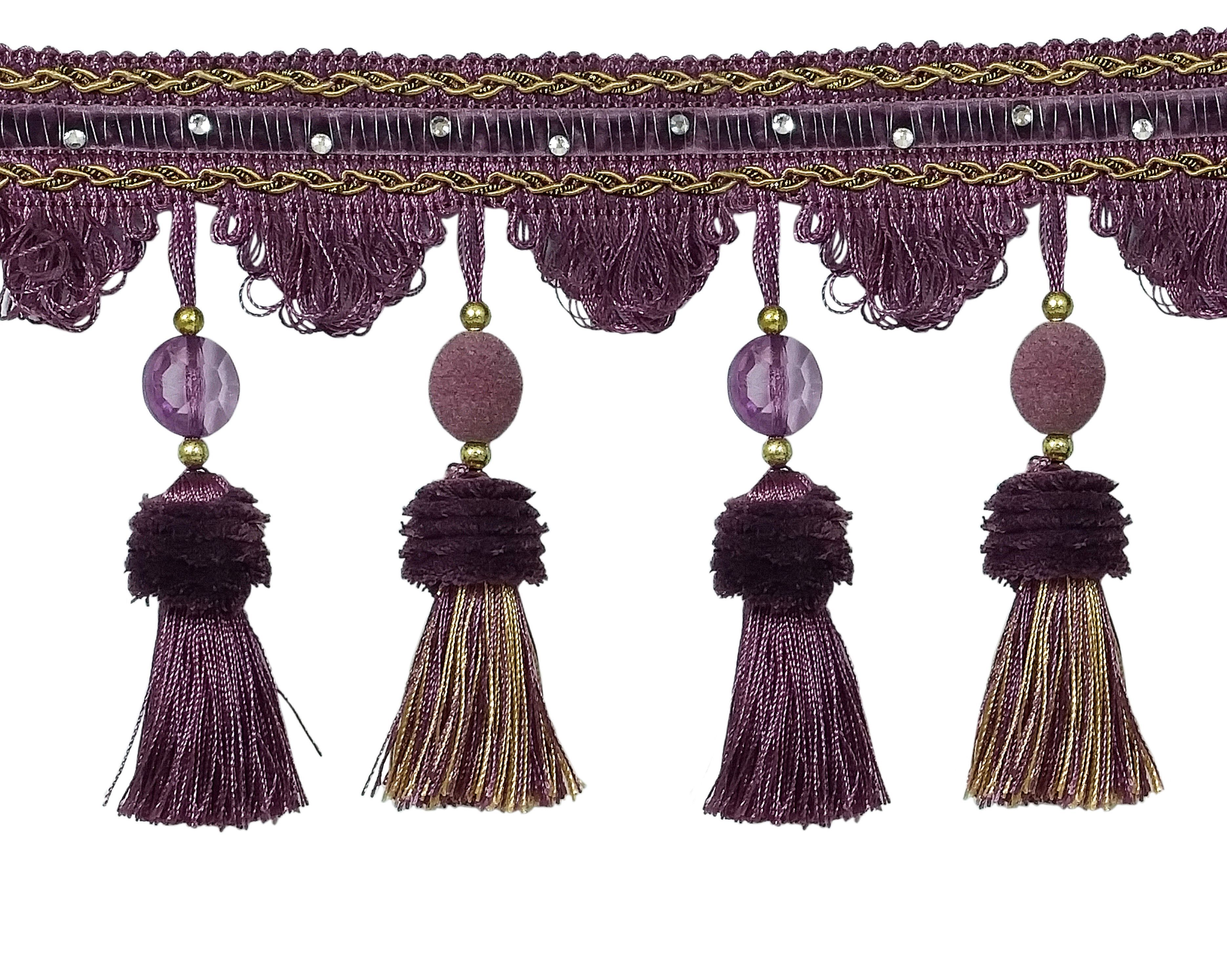 "12 Tassels Mauve Pink Grey Color Combination  3-1//4/"" New Sewing Craft Purple"