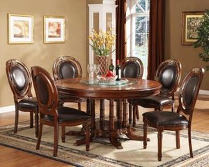 Williams 7PC Set Cherry Round Wood Dining Table and 6 Chairs