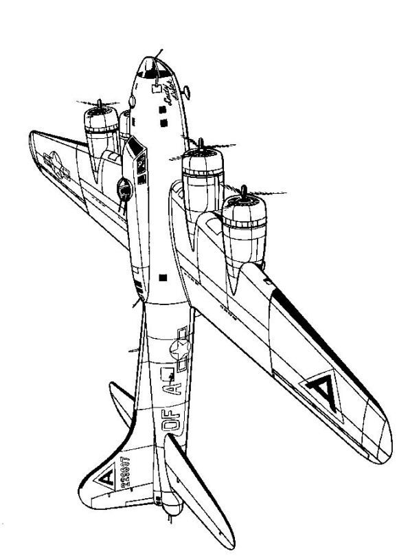 Coloring Page Wwii Aircrafts Boeing F17b Fortress 1942 Airplane