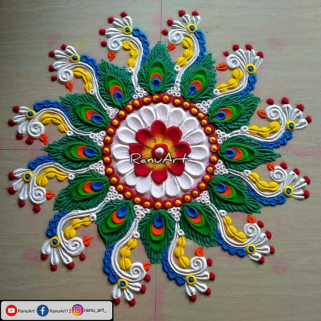 Peacock feathers Easy and beautiful Rangoli designs in ...