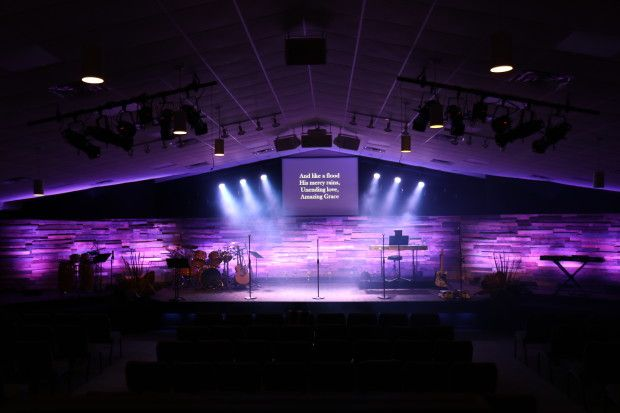 Wood Pallets - Church Stage Design | Worship space aesthetic DIY ...