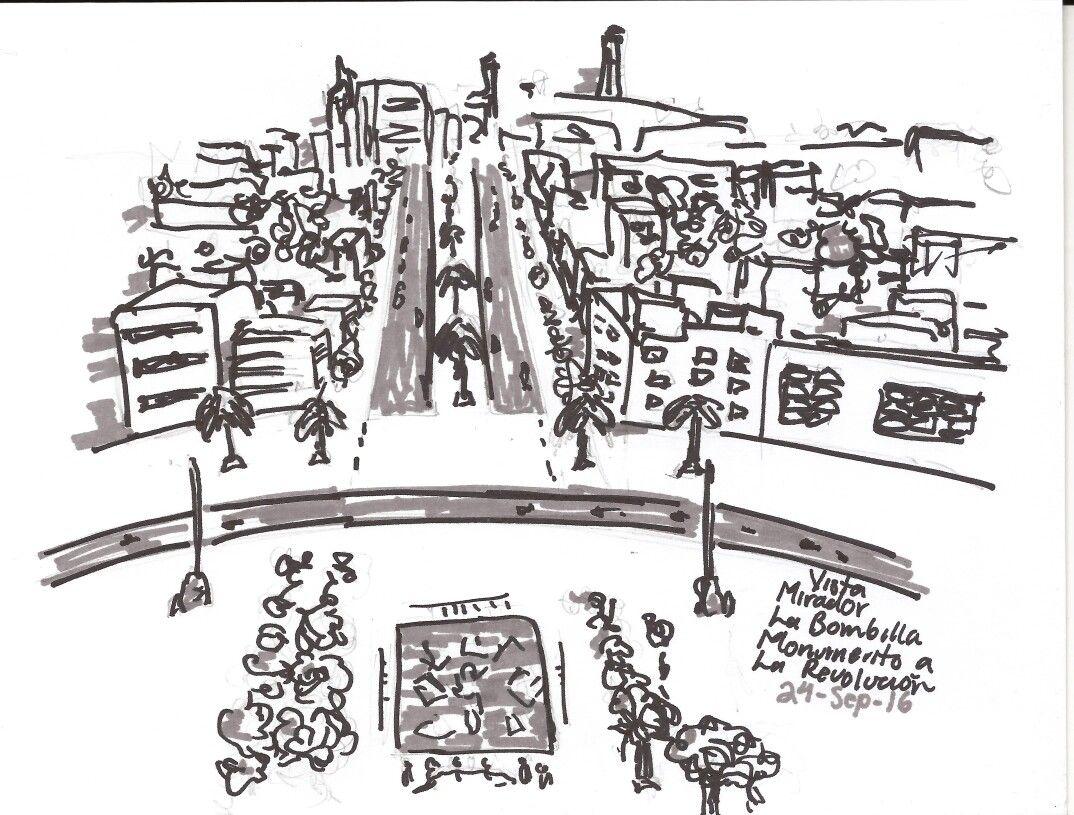 Quick sketch at the Monumento de la Revolución, Mexico City.