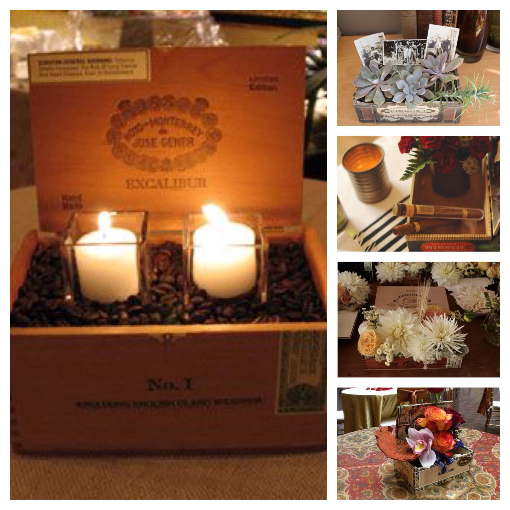 Night wedding decor ideas  cigar box centerpieces  uus havana nights wedding decor ideas