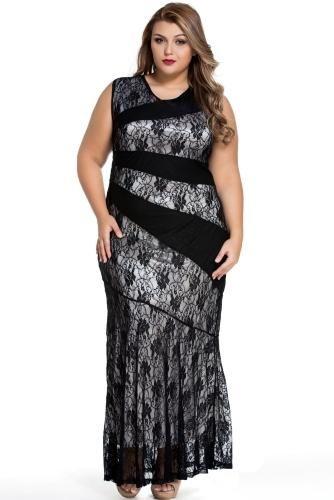 CHICUU - CHICUU Stylish Lace Splice Plus Size Mermaid Prom Dress - AdoreWe.com