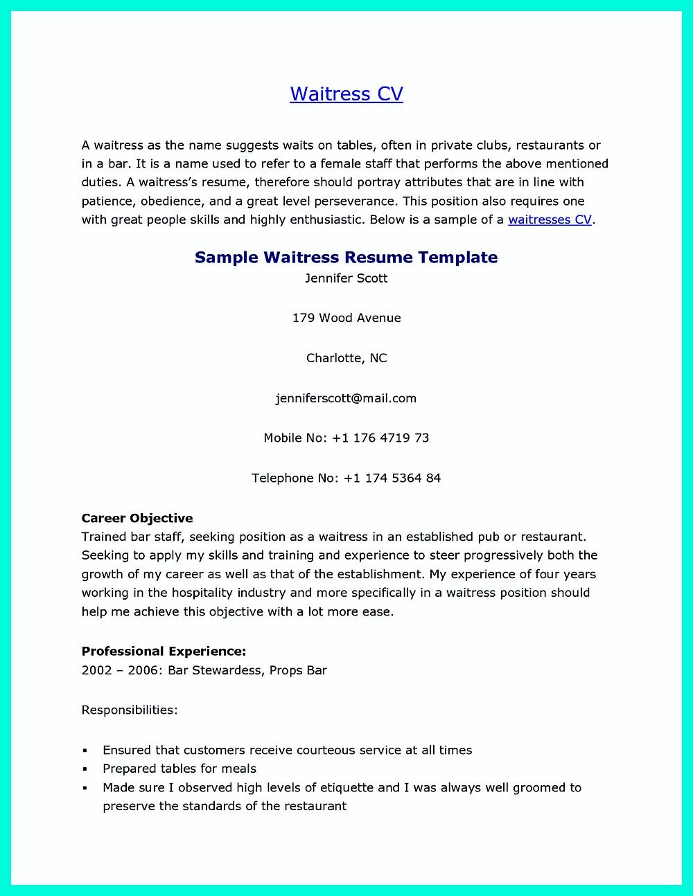 Cocktail Server Resume Skills To Convince Restaurants Or Cafe Server Resume Resume Skills Resume Examples