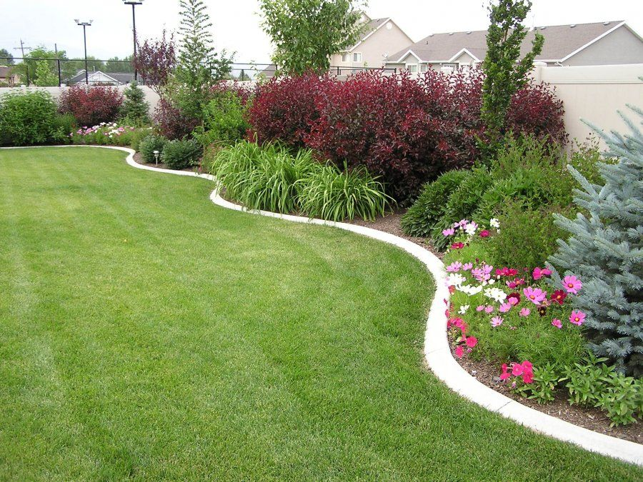 Landscaping in a curved bed along a privacy wall may be for Big back garden designs