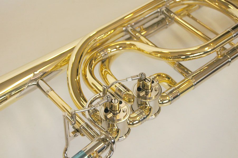 Close up of the valve section of my particular bass trombone