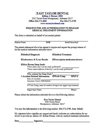 Medical Records Release Form For Sleep Apnea
