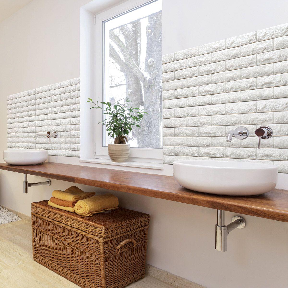 A06501 Peel & Stick 3D Wall Panels Foam Block Brick Design ...