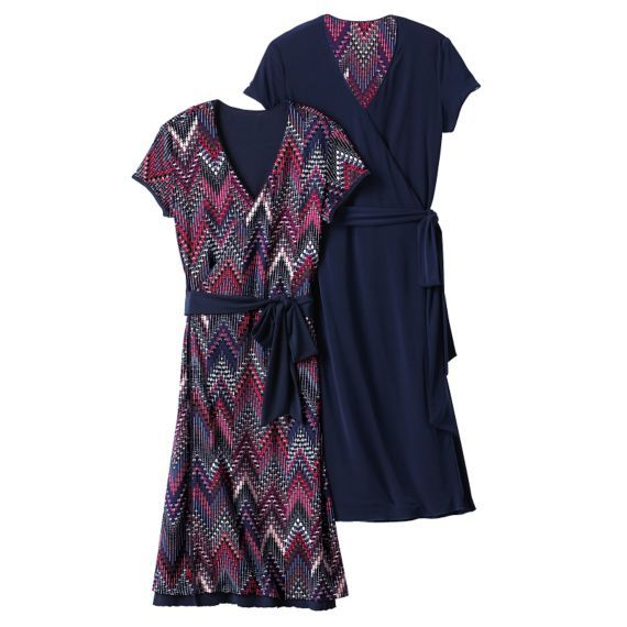 Samantha Brown Short Sleeve Reversible Wrap Dress Wrap