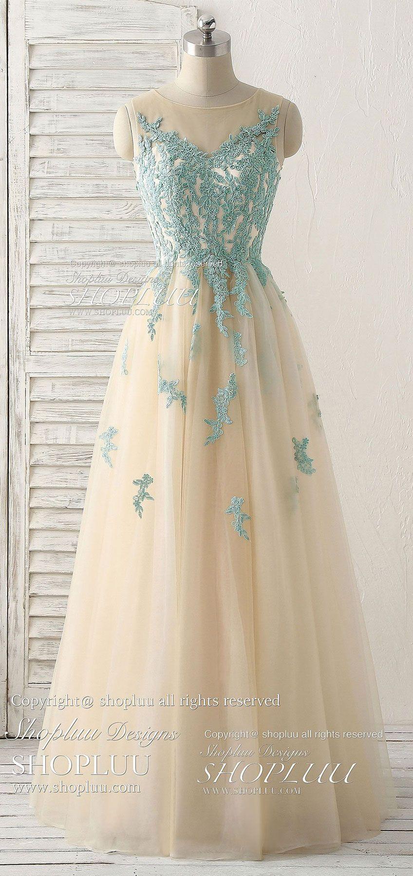 Cute green lace long prom dress tulle bridesmaid dress dresses
