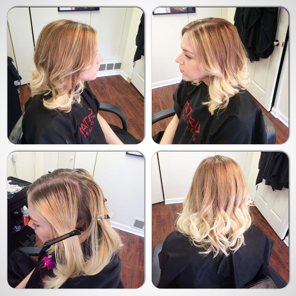 Matrix hair color. Color melt ombré. From blonde to a more natural look hair by Nichole at NC hair studio