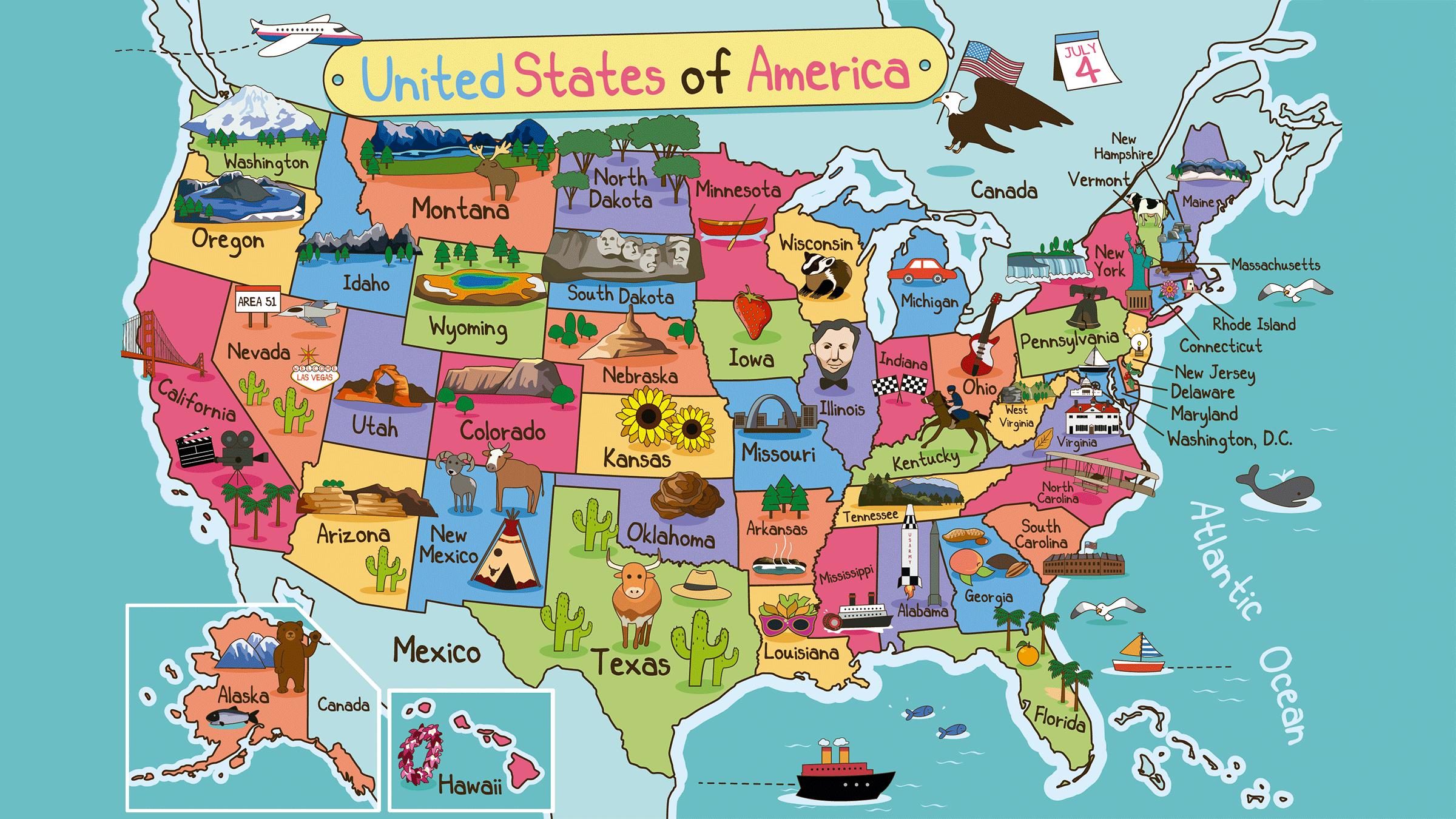 Mapa De Estados Unidos Con Dibujos Mapas Del Mundo Pinterest - Usa mapa
