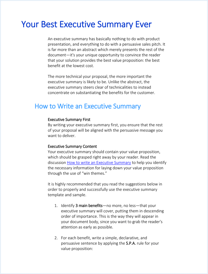 how to write an effective executive summary