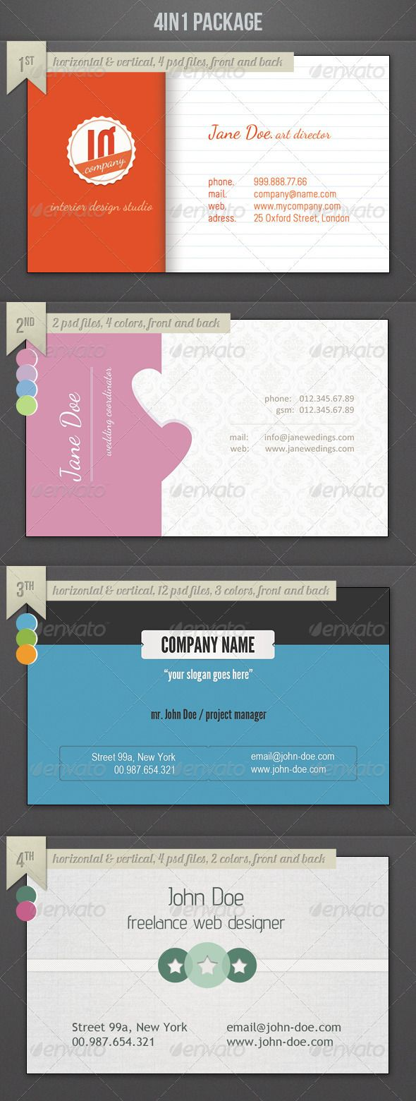 4in4 Business Cards Package Business Card Design Creative Business Cards Creative Templates Business Cards Creative