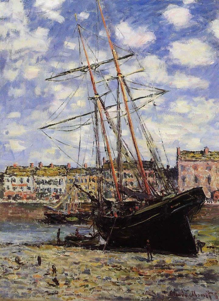 Monet, Boat at Low Tide at Fecamp