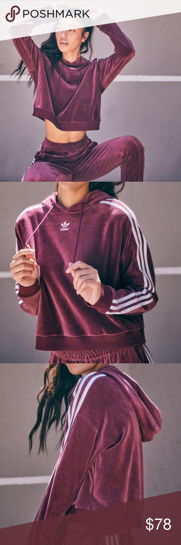Adidas Originals velour cropped hoodie NWT NWT   Fashion