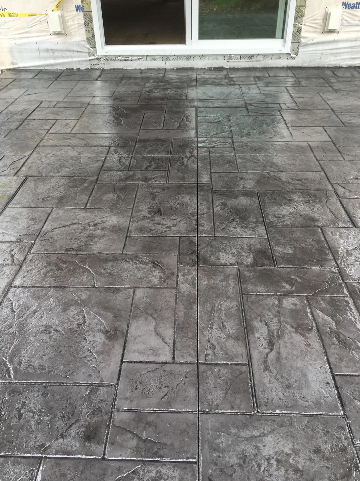 Stamped Concrete Patio Medium Grey Color with Black Release