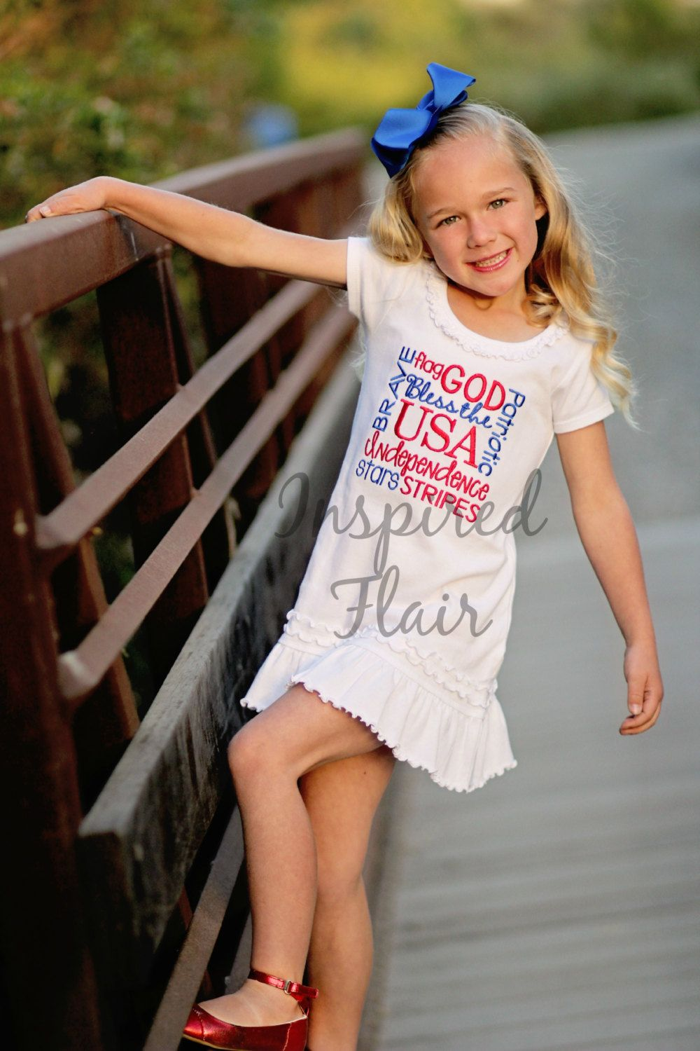 July 4th Embroidered Dress- Shirt- Independance Day- Red White Blue- Patriotic- Girls - Bodysuit -Picnic- Holiday - USA Stars Stripes by InspiredFlair on Etsy