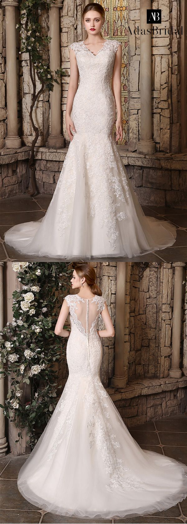 Wedding dresses v neck  Romantic tulle vneck neckline lace appliques mermaid wedding