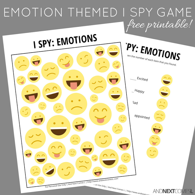 emotion themed i spy game free printable for kids - Free Printable Games For Kids
